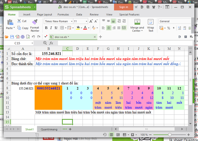 Giao diện của file Excel khi mở